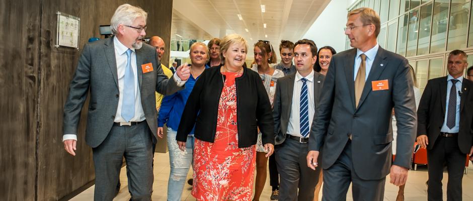Jònas Einarsson, Erna Solberg, Byrådsleder Stian Berger Røsland og leder av OBOS Eiendom